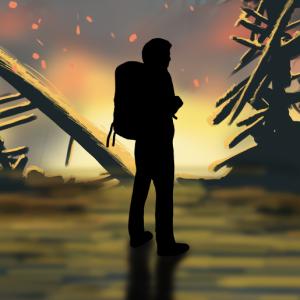 A survivor in a post apocalyptic world