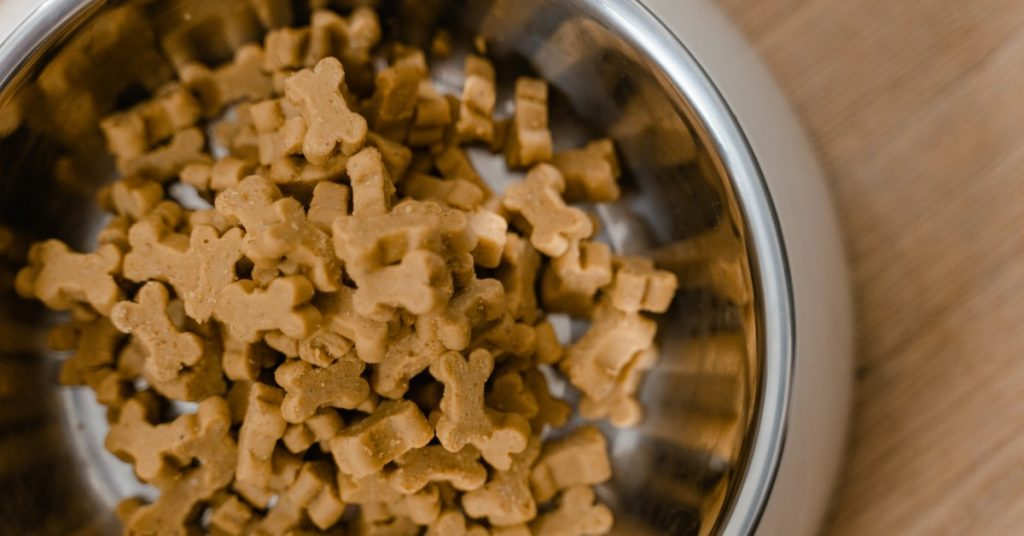 A photo of a bowl of dog biscuits.