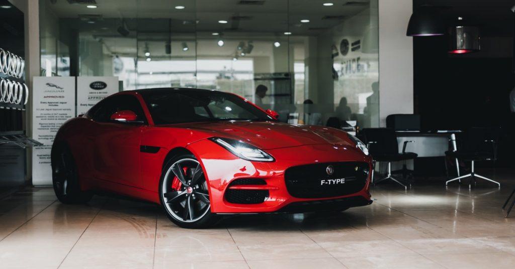 A photo of a car in a car dealership