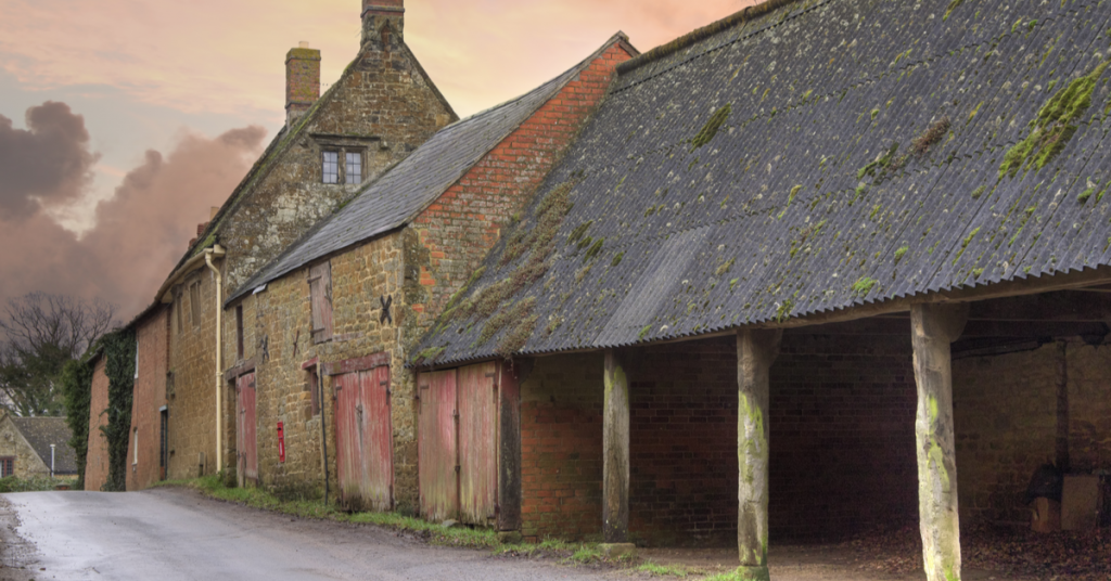 A photo of farm buildings
