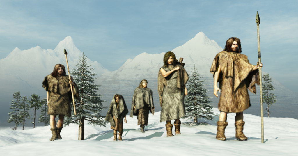 An illustration of several ice age hunter people